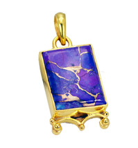 fine Turquoise Gold Plated Multi Pendant genuine Designer US gift - $12.86