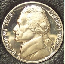 1980-S Deep Cameo Proof Jefferson Nickel #0893 - $0.99