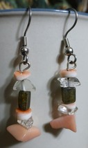 Coral Foot Dangle Earrings Pink Clear - $15.00