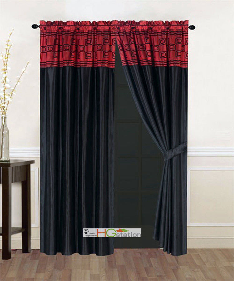 Primary image for 4P Satin Modern Chic Square Rectangle Striped Curtain Set Burgundy Black Valance