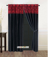 4P Satin Modern Chic Square Rectangle Striped Curtain Set Burgundy Black... - $30.74