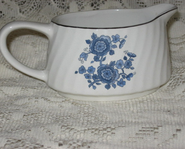 Primary image for Enoch Wedgwood- Royal Blue Ironstone-Gravy Boat/Creamer-Platinum-England