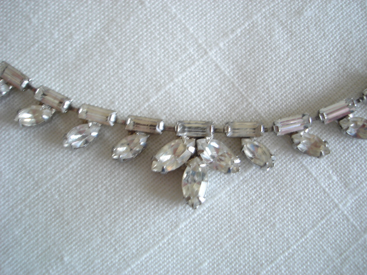 Vintage Silvertone Clear Rhinestone Prom, Wedding Necklace, Earrings