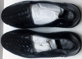 BLACK LEATHER DEER STAGS SIZE 8.5 D SHOES - $46.74