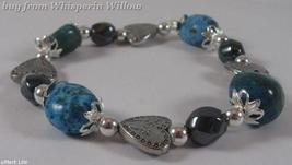 Magnetic Hematite/ Turquoise/ Silver Hearts Bracelet - $14.95