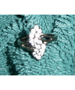 16 crystal diamond like stone goldtone ring - $8.00