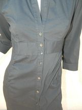 EXPRESS Dress Navy Blue Classic Shirt 3/4 Sleeve Dress Workwear Career Sz 6 image 4