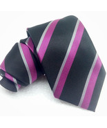New tie black & purple classic 3.3 100% silk MORGANA Italy business / br... - $27.93