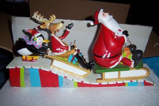 Santa Deer & Penguin Sleigh Table Center Piece 10 Inches Christmas Decor NEW