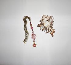 Dragon Bookmark, Pink Lampwork Glass, Crystal Book Charm - $11.00