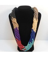 Retro Multi strand wood beaded necklace natural earth colors wood clasp ... - $17.00