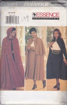 Butterick 3084 Women's Cape Pattern and Skirt Fat & Easy 12-14-16 C. 1995 UC, FF - $8.86