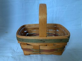 "Longaberger Basket 1990 Small Rectangle with Green and Red Accent 7""Lx5""... - $18.49"