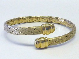 Vintage Veronese Sterling Silver Gold Vermeil Flex Bypass Bangle Bracele... - $61.75