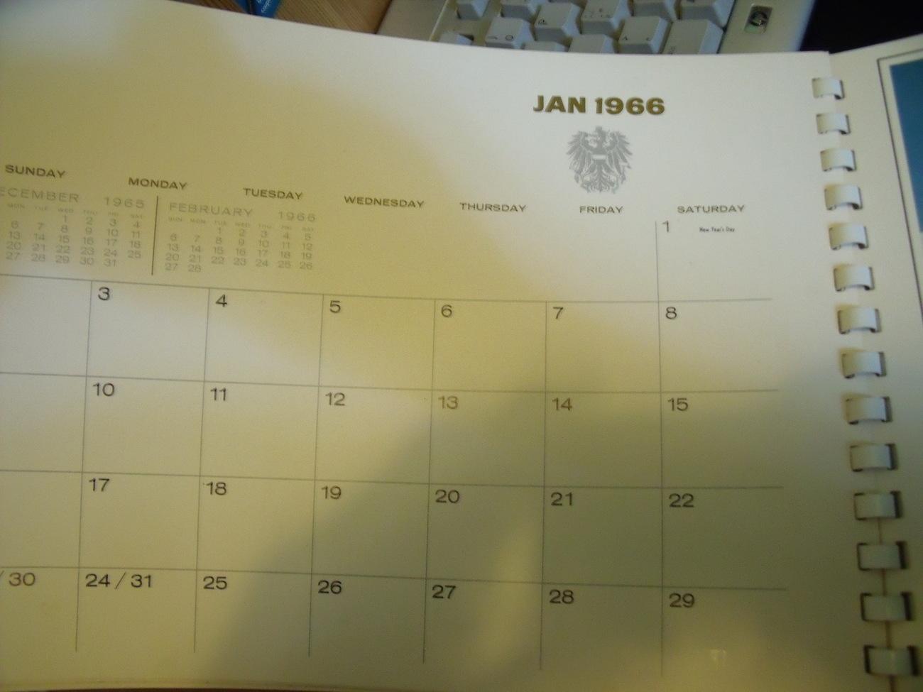 Origina 1966 World Scenic Calendar