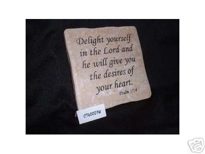 Christian Laser Engraved Ceramic Tile Psalm 37:4 WOW