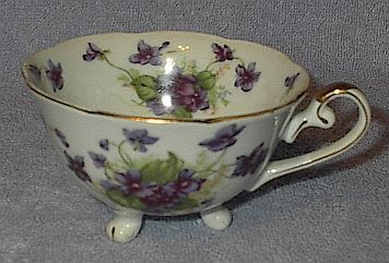 Primary image for Lefton Decorative Three Footed Floral Violets Cup ca. 1950
