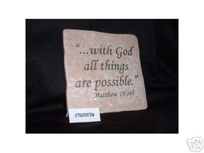 Christian Laser Engraved Ceramic Tile Matthew 19:26 WOW