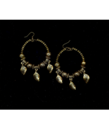 FREE WITH PURCHASE~Beaded Brass Toned Hoop Pierced Earrings - $0.00