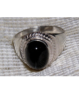 Black Onyx Polished Sterling Silver Ring size 5... - $23.00