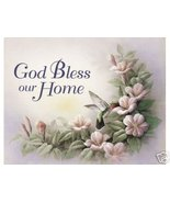 God Bless Our Home Chiu Flowered Christian Print - $4.49