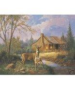 Log Cabin Deer Fall American Caroselli Art Print 8x10 - $4.49