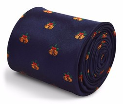 Christmas Navy Mens Tie with Bells Design by Frederick Thomas FT3307