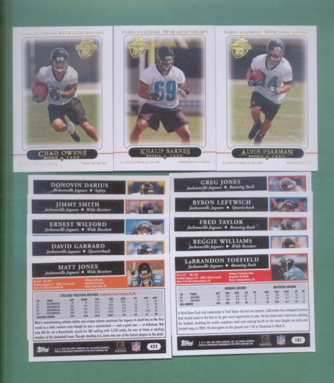 2005 Topps Jacksonville Jaguars Football Set