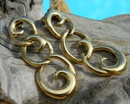 Vintage Napier Earrings Dangles Goldtone Triple Link Wave - $19.95