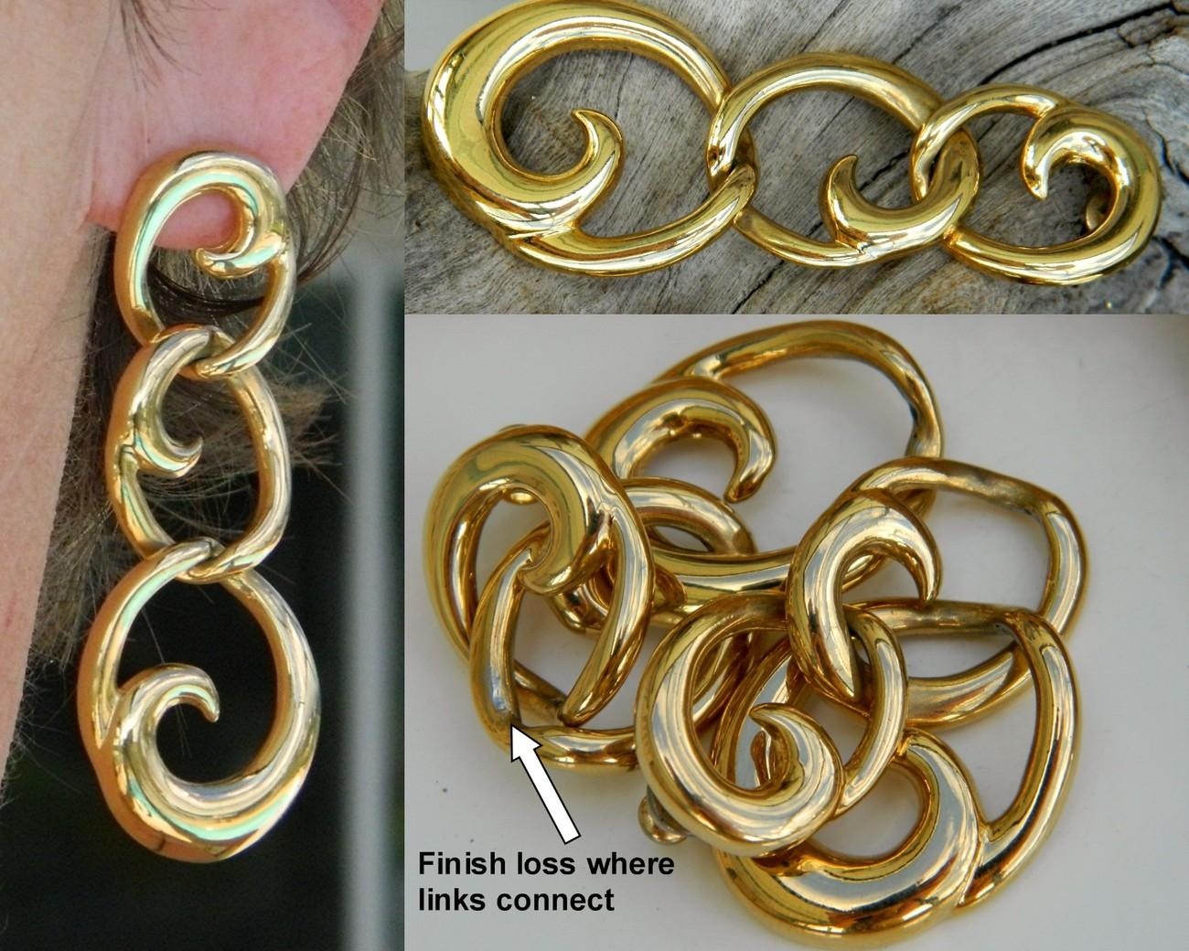 Vintage Napier Earrings Dangles Goldtone Triple Link Wave