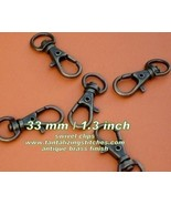 40 Antique Brass 1.3 Inch Lobster Swivel Clasps - $10.27