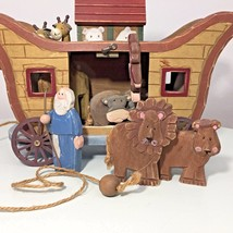 Wooden Noah's Ark with Animals and Noah Children's Room Display Religious - $20.56
