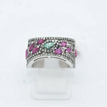 Ruby Gemstone Silver Pave Diamond and Emerald Gemstone Wedding Band Ring... - $269.78