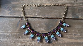 """J Crew Rhinestone Statement Necklace Colorful and Great Condition 18"""" Ma... - $51.97"""