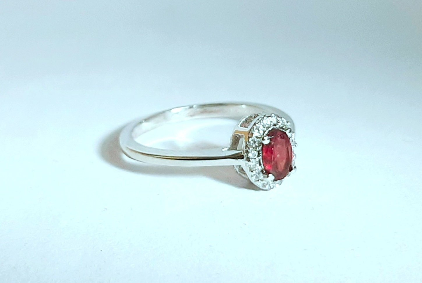 925 Sterling Silver Natural Garnet And Cz Gemstone Artistic Design Handmade Wome
