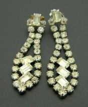 Clear Rhinestone Dangle Silver Tone Post Earrings Vintage 1980's - $19.79