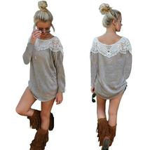 Women full Sleeve lace patchwork blouse loose T shirt sweater tops pullover hood