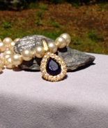 Exquisite Vintage Trifari Amethyst Purple Rhinestone Pear On Faux Pearl ... - $88.00