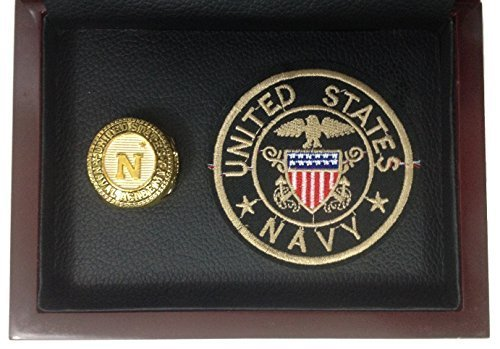 United States Naval Academy Ring Display - Gold Plated Vintage Replica with Embl