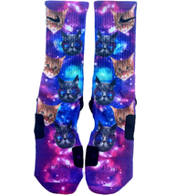 Custom Space Cats Nike Elite Socks ALL Sizes FAST SHIPPING - $23.99