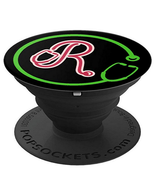 Monogram R with Stethoscope - Doctors Nurses Veterinarians - PopSockets ... - $15.00