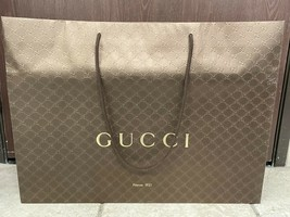 "GUCCI Brown GG XL Shopping Gift Giving Bag Tote 25.5"" x 19"" x 8"" - $28.49"