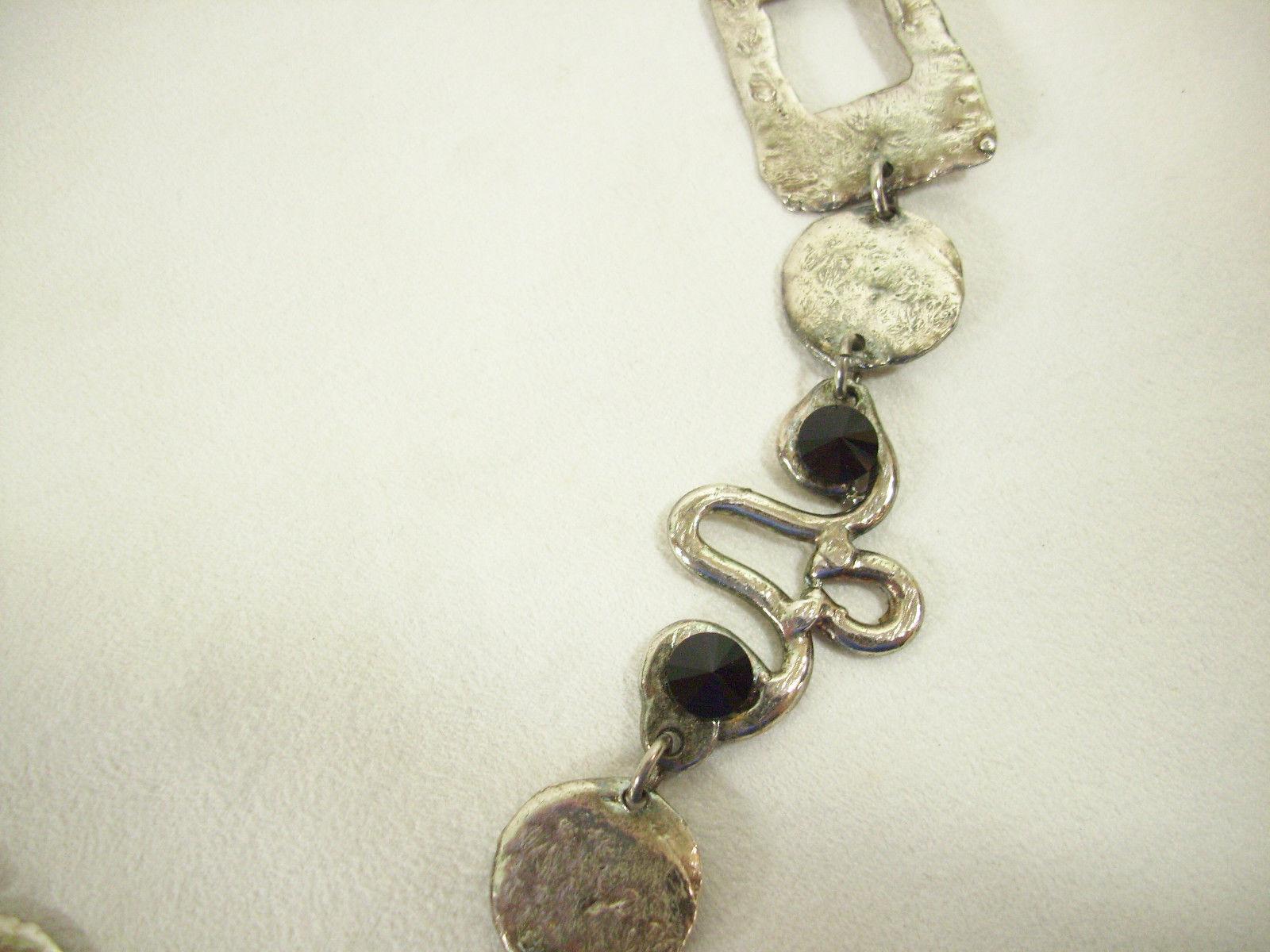 J JANSEN Brutalist Modernist Silver Gold Black Rivoli Necklace Handcraft Couture