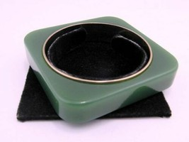 Signed Vintage Liz Claiborne Lucite Green on Metal Modern Square Bangle Bracelet image 2