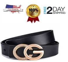 WOMEN SLIM SKINNY LEATHER BELT RETRO GOLD ALLOY BUCKLE GUCCI LOGO DRESS ... - $26.41