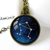 Retro Style Handmade Glass Dome Necklace, Libra Constellation, C-306 - $8.00