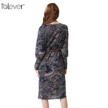Talever Women Dress Casual Long Puff Sleeve O-Neck Plus Size Dresses Ladies Spri image 3