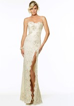 Sophisticated Sexy Strapless Beaded Champagne Lace Evening Gown Paparazz... - $250.00