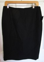 NEW Tahari Women Textured Black Wool Blend Lined Skirt Pencil Size 8 Career $228 - $28.02