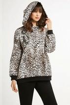 Elie Tahari Women's Sylvia Alpine Leopard Cheetah Hoodie Gemstone NWT Small - $67.32